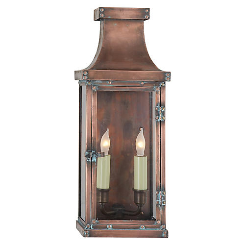 Bedford Outdoor Lantern, Natural Copper