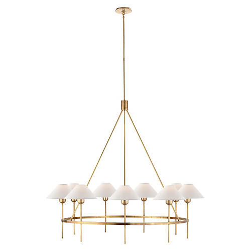 Hackney Large Chandelier, Antiqued Brass