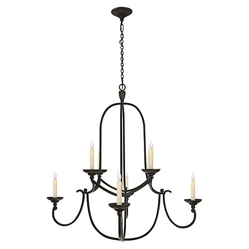 Flemish Two-Tier Chandelier, Aged Iron