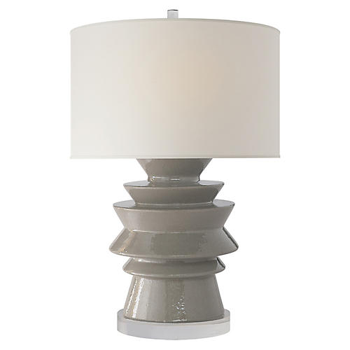 Stacked Disk Table Lamp, Shellish Gray