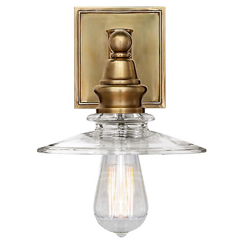 Covington Shield Sconce, Antiqued Brass