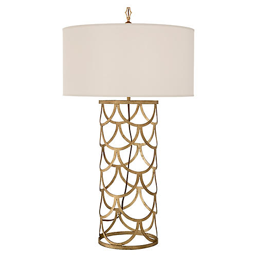 Serena Barrel Table Lamp, Gilded Iron