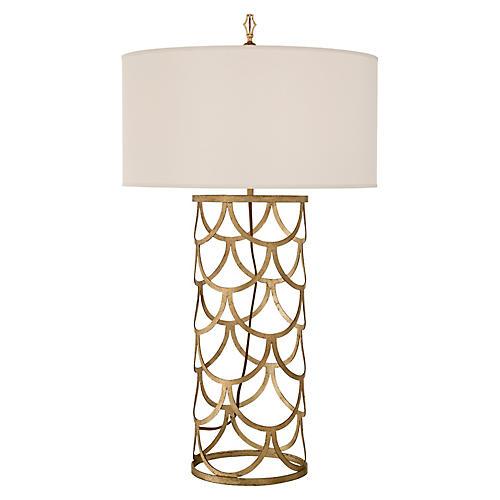 Serena Barrel Table Lamp, Gilded Iron