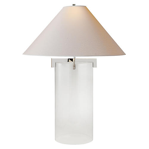 Brooks Crystal Table Lamp, Polished Nickel