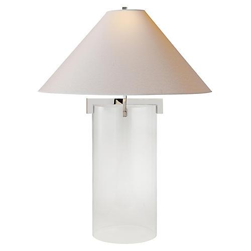 Brooks Crystal Table Lamp, Polished Nickel