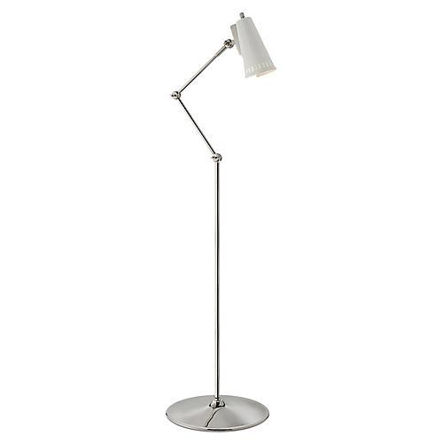 Antonio Articulating Floor Lamp, Polished Nickel