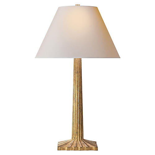 Strie Fluted-Column Table Lamp, Gold