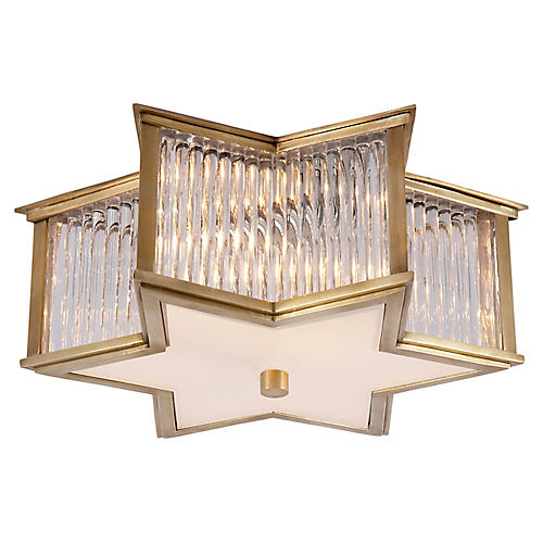 Sophia Flush Mount, Brass/Frosted