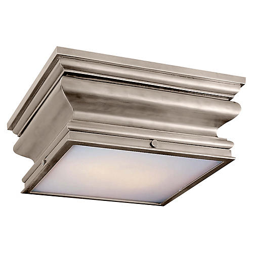 Square Flush Mount, Antiqued Nickel/White