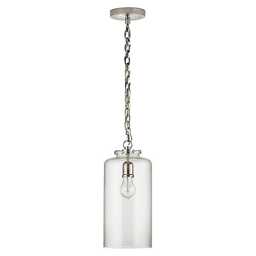 Katie Cylindrical Pendant, Nickel/Clear