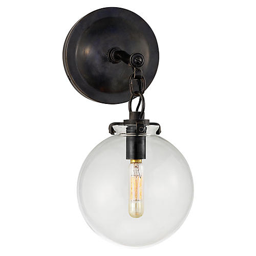 Katie Globe Sconce, Bronze/Clear