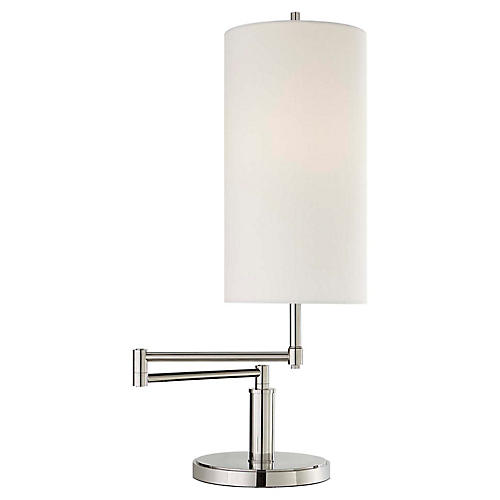 Anton Large Swing-Arm Table Lamp, Polished Nickel