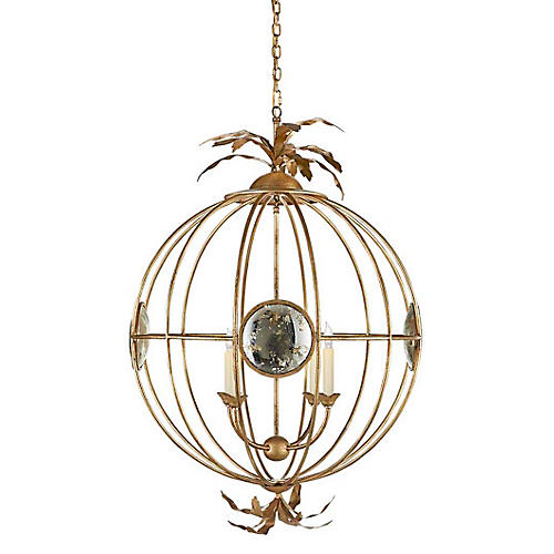Gramercy Large Globe Chandelier, Gilded Iron
