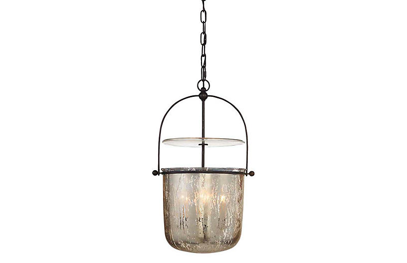 Lorford Small Smoke Bell Pendant, Aged Iron