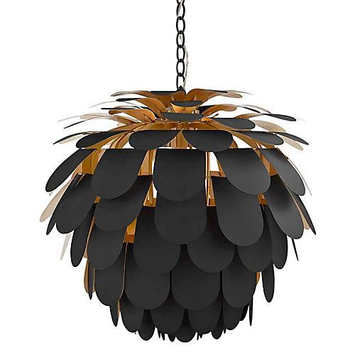 Cynara Large Pendant, Matte Black/Gild
