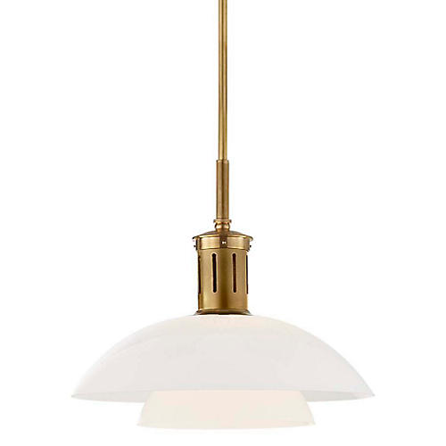 Whitman Medium Pendant, Brass/White