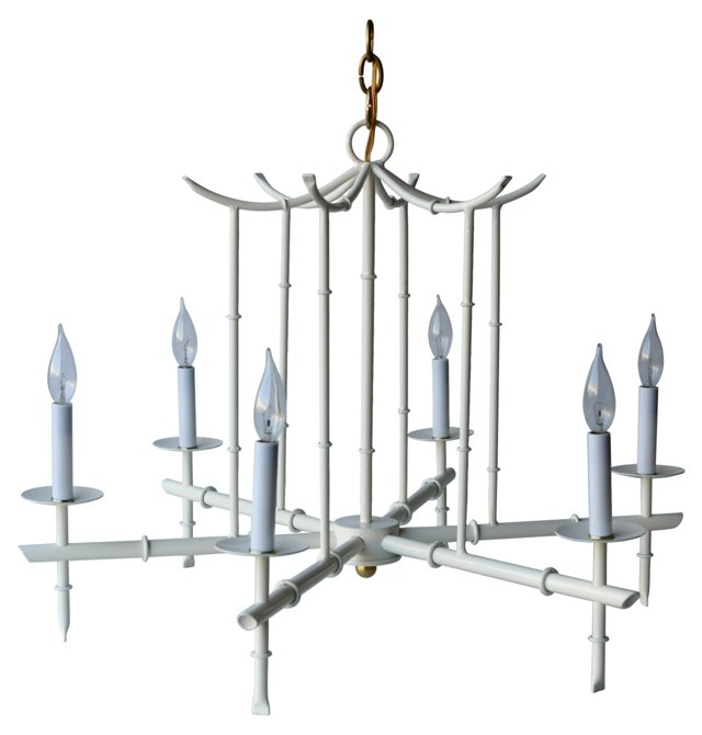 Large 6-Arm Chandelier, Ivory
