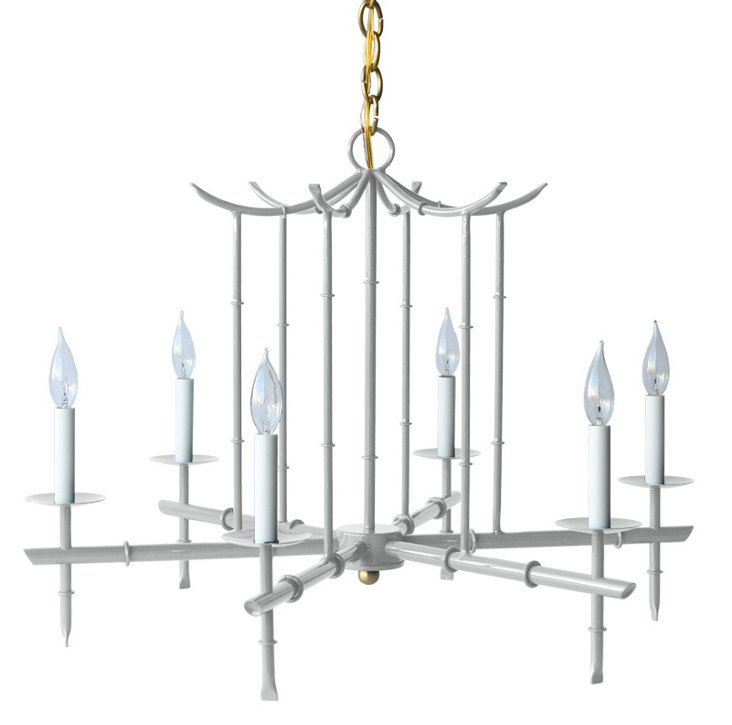 Large 6-Arm Chandelier, Gray