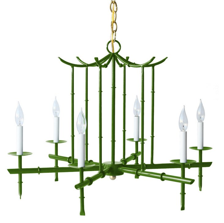 Large 6-Arm Chandelier, Green