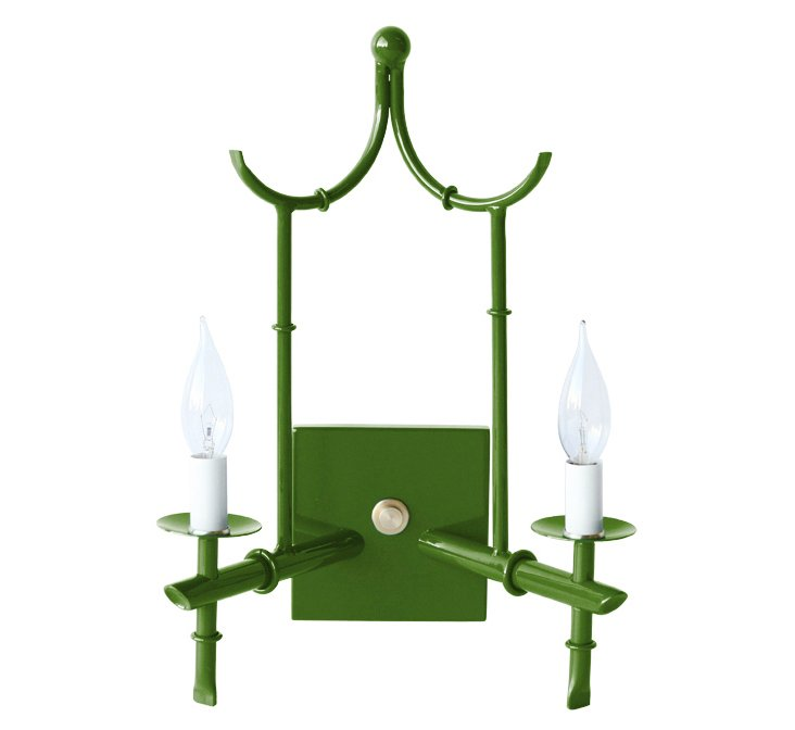 2-Arm Wall Sconce, Green