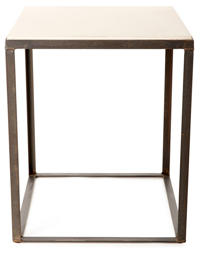 Quarry Side Table, Iron/White