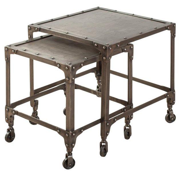 Pewter Blake Nesting Tables, Set of 2
