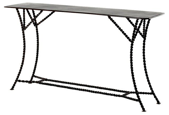 Heston Console Table, Dark Pewter