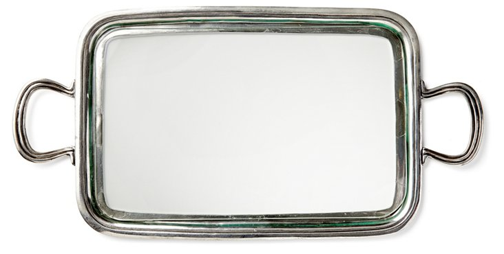 "19"" Pewter Tray w/ Handles, Silver"