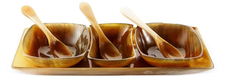3-Bowl Horn Condiment Set