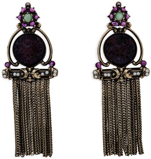 Faux-Amethyst Fringe Earrings