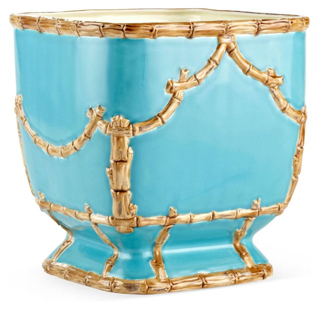 "8"" Astor Cachepot, Turquoise"