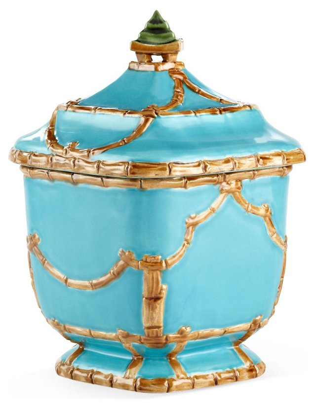 """10"""" Astor Pagoda Canister, Turquoise"""