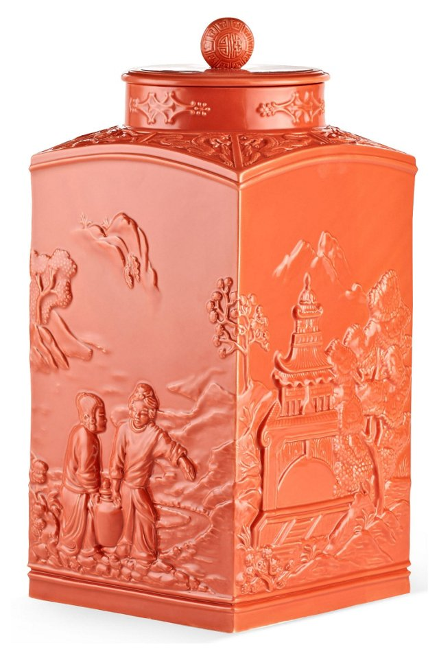 """17"""" Astor Chinoiserie Jar, Coral"""