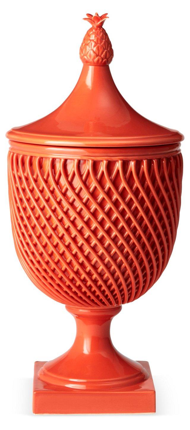 "17"" Astor Lattice Vase, Coral"