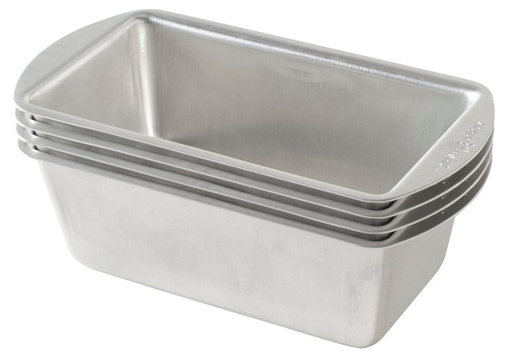 S/4 Mini Loaf Pans, Silver