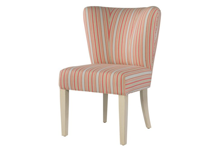 Kelly Cotton Wingback Chair, Coral/Blue