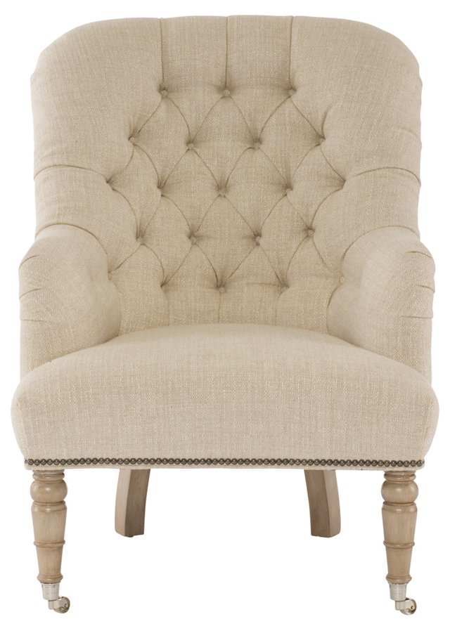 Lewis Tufted Chair, Ivory