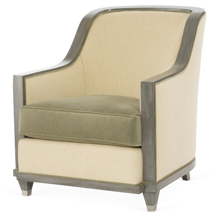 Burlingame Accent Chair, Green/Camel