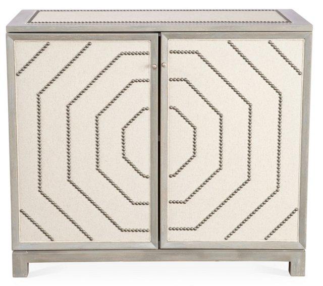 Lynacres Upholstered Nail-Trim Cabinet