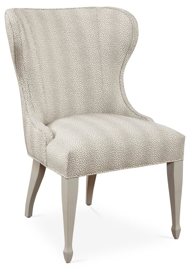 Ava Spotted Wing Chair, White/Beige