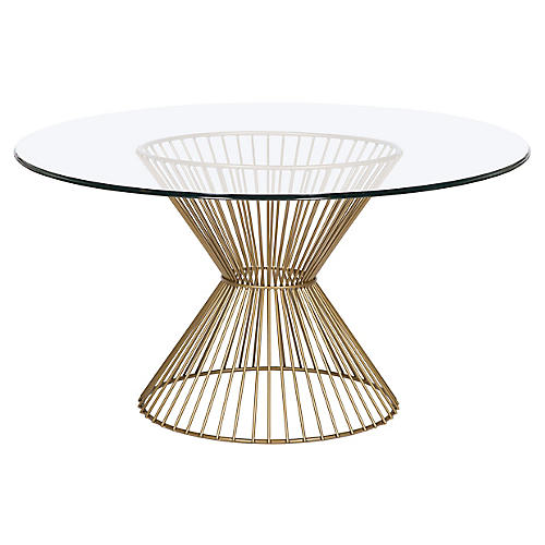 Gordes Round Dining Table, Brass
