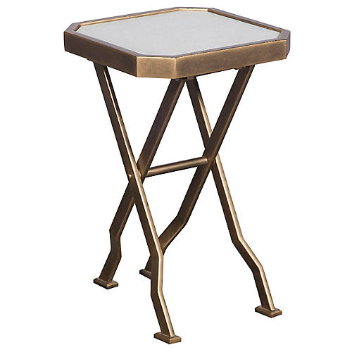 Jillian Folding Table, Gold/Ivory