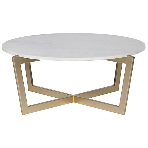 Hunter Coffee Table, Gold/Ivory