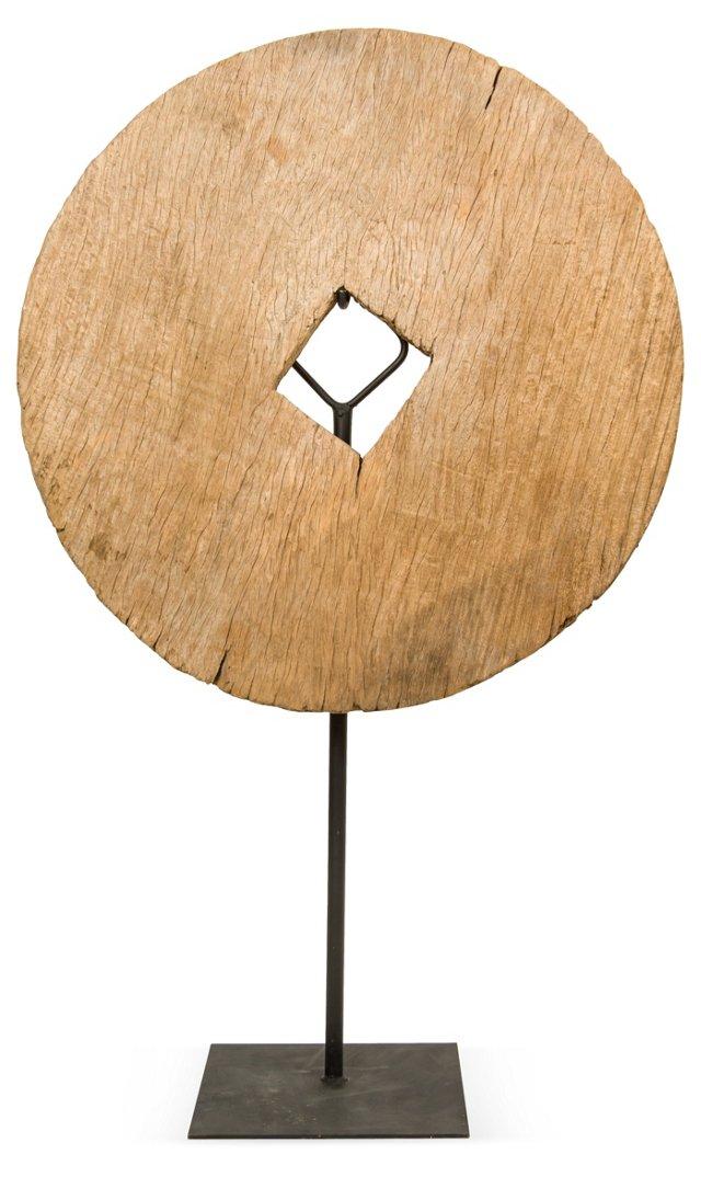 Wood Wheel on Stand II
