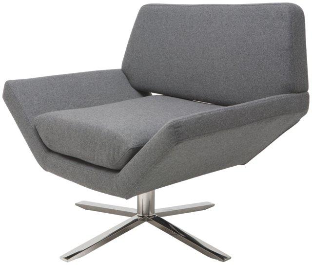 Sly Swivel Lounge Chair, Light Gray