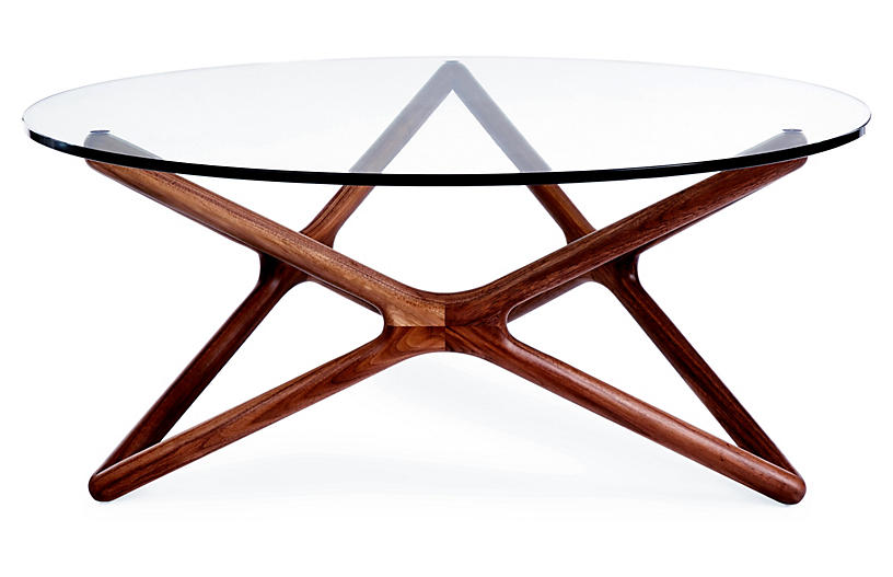 Star Glass Coffee Table, Walnut