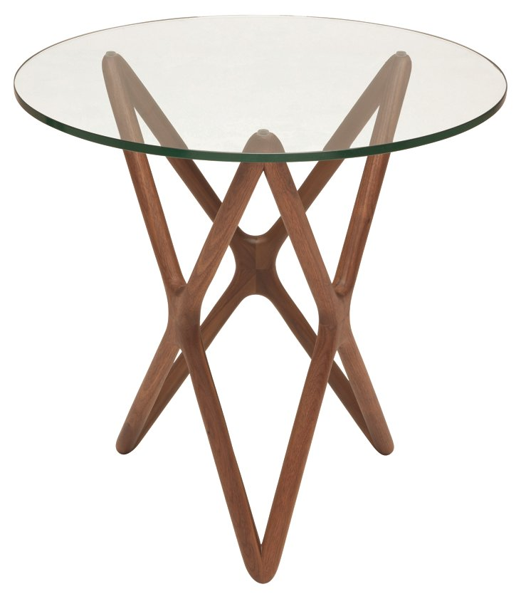 Star Modern Glass Side Table, Walnut