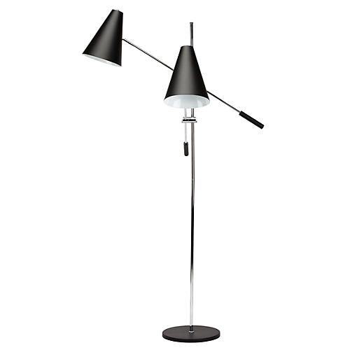 2-Light Tivat Floor Lamp, Black