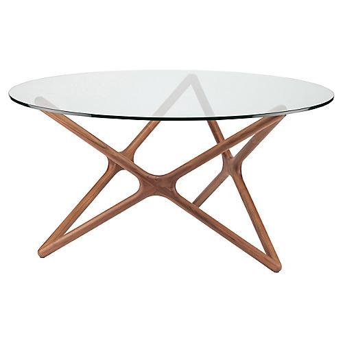 """Alyssa 59"""" Round Dining Table, Walnut"""