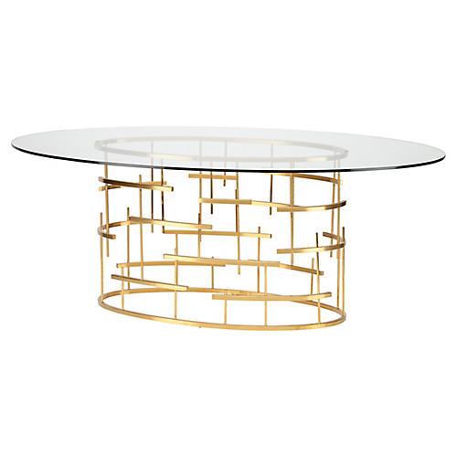 "Sasha 77"" Dining Table, Gold"